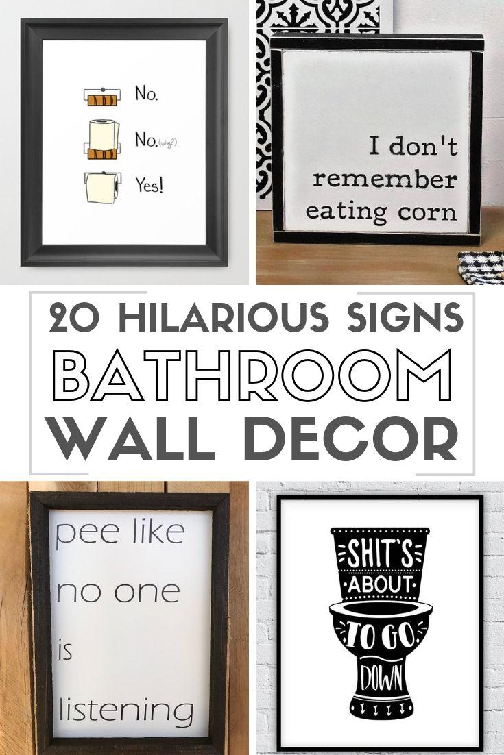 20 Funny Bathroom Signs Wall Art #diywalldecor