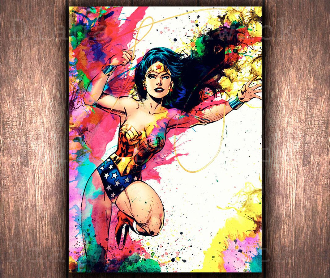 Wonder Woman Wall Art watercolor wonder woman wall artdidiprint on etsy | wonder