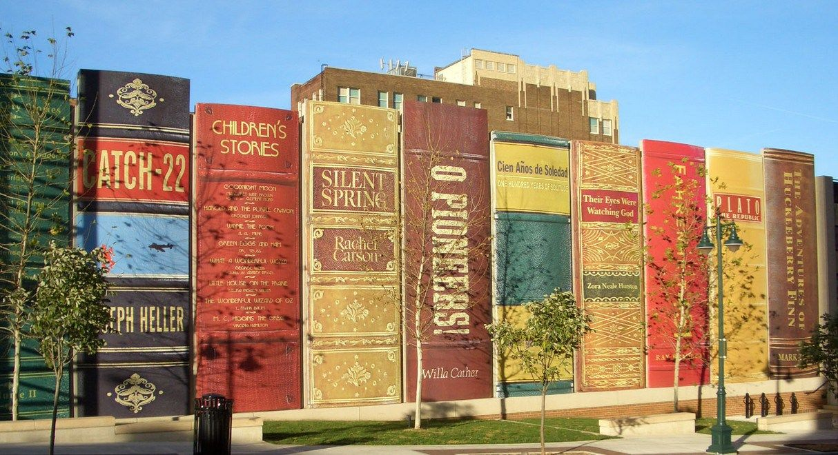 """The Community Bookshelf"" -- Kansas City Central Library Parking Garage Facade"