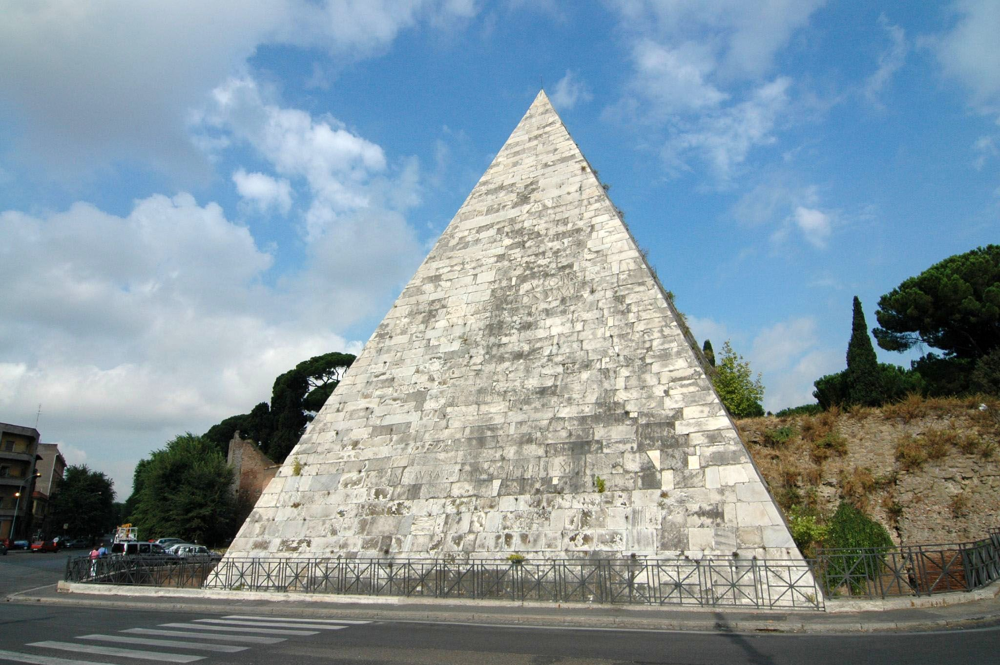 Pyramid of Cestius. One of the most well preserved structures in ancient Rome. Built 18BC. Italy