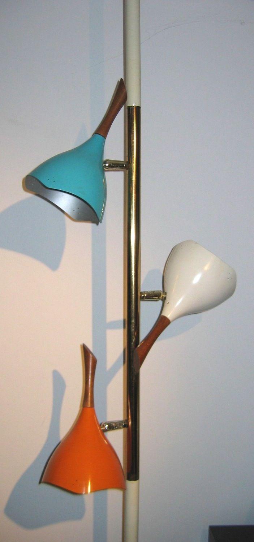Vintage, three color Tension Bullet lamp. 3 way light, Pole lamp ...