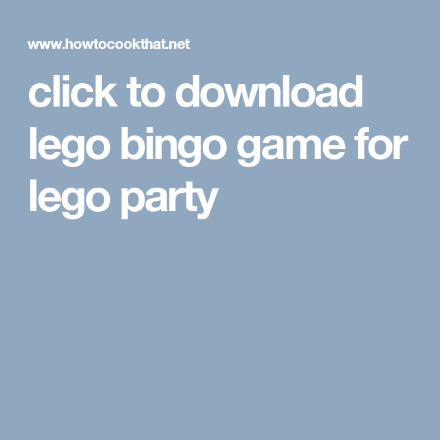 click to download lego bingo game for lego party | MindStorm Party ...