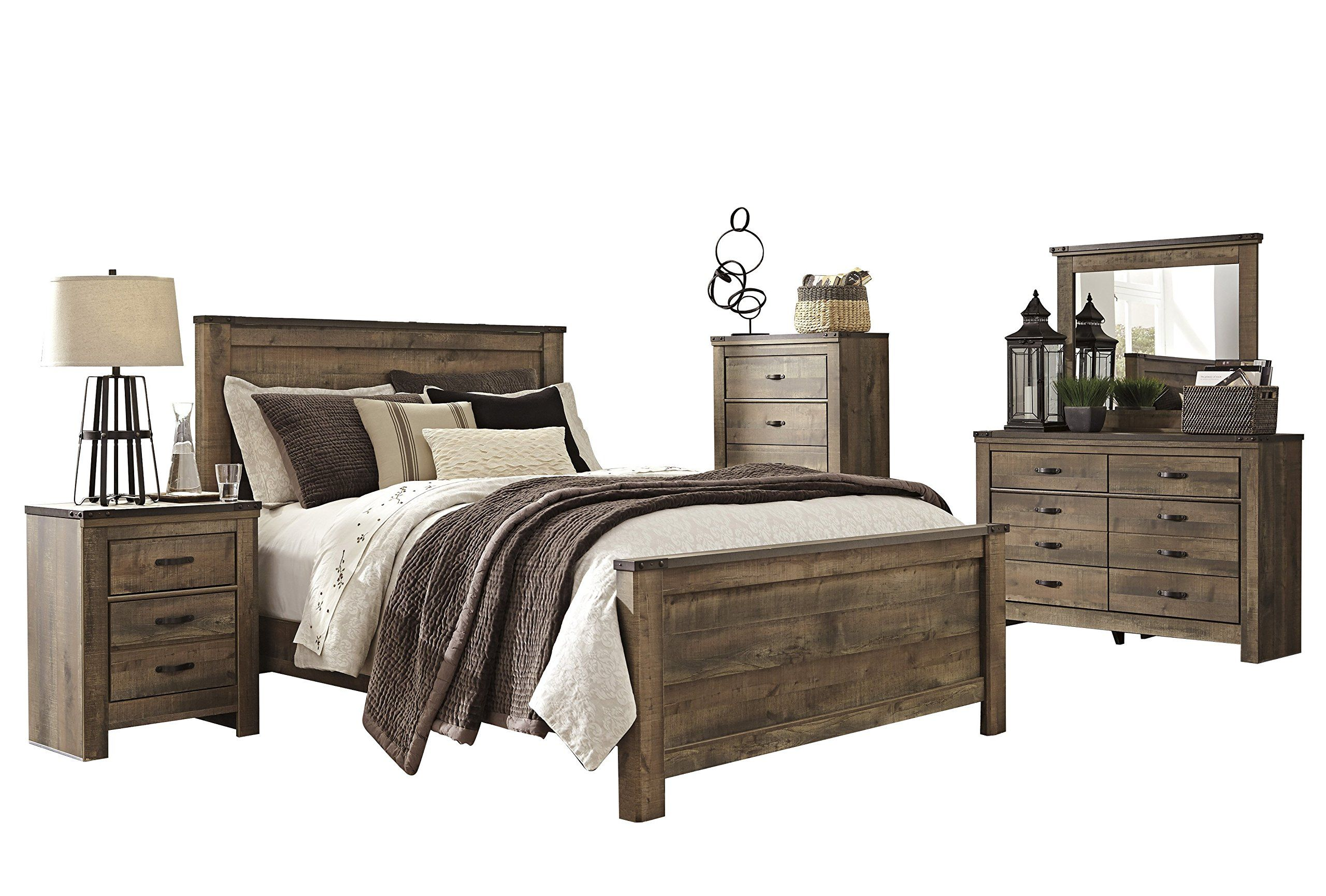 Ashley Trinell 5pc Bedroom Set E King Panel Bed One Nightstand Dresser Mirror Chest In Brown Ashley Bedroom Furniture Sets Ashley Furniture Bedroom Bedroom Set