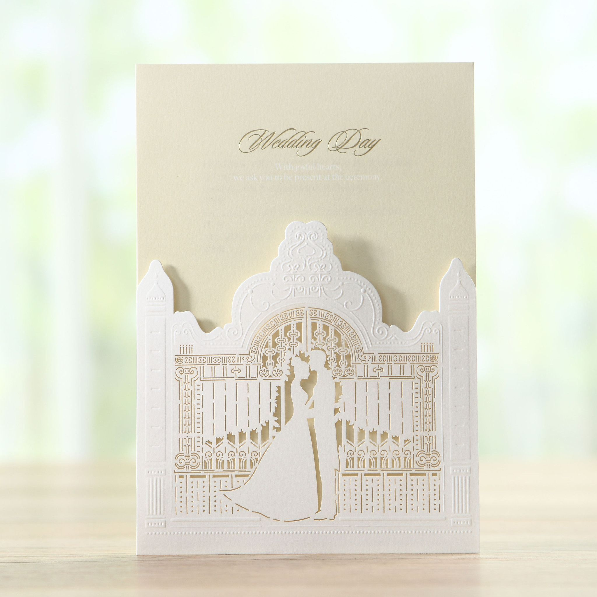 Light Brown Laser Cut Elegant Wedding Castle Wedding Invitations ...