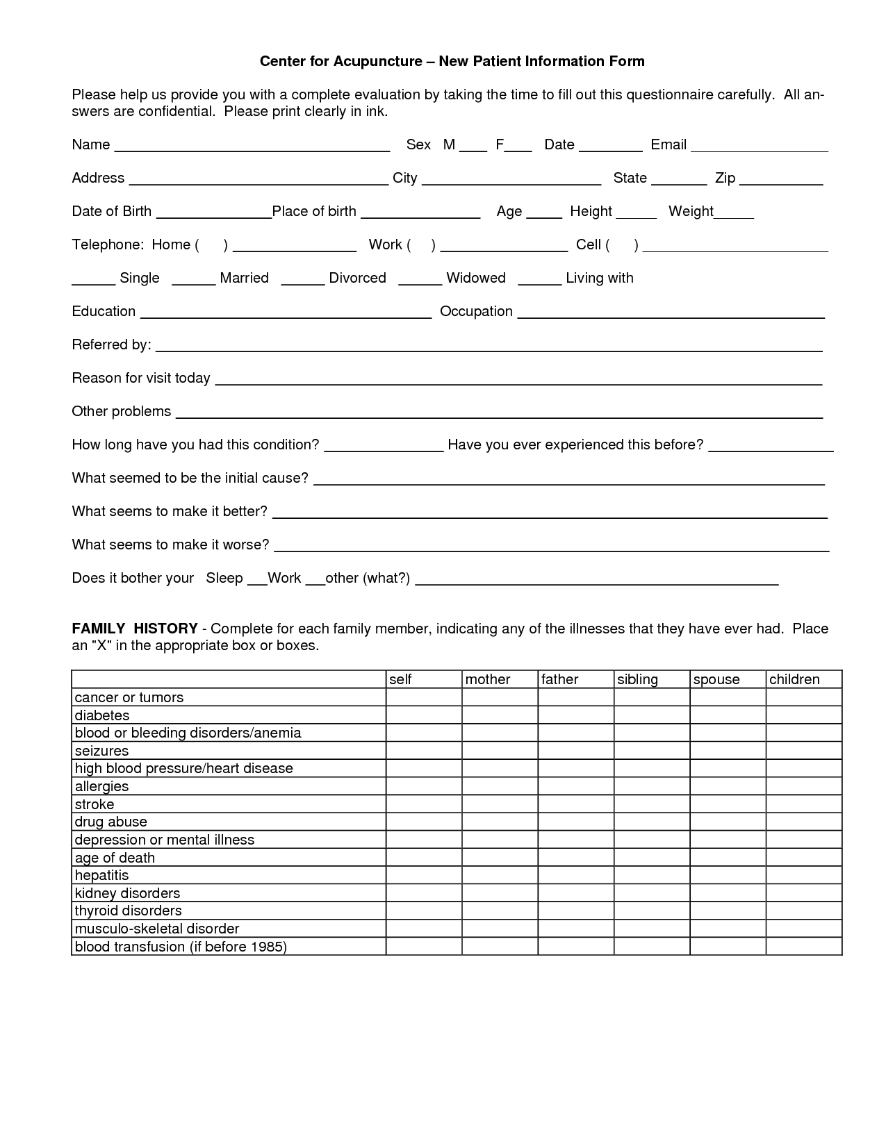 Acupuncture Patient Intake Forms | 건강 | Pinterest | Acupuncture