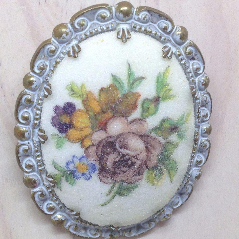 Vintage WESTERN GERMANY Sugar ROSE CAMEO BROOCH PIN Bronze Tone Enamel Jewelry #WesternGermany