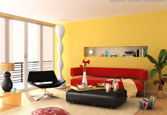The Red Couch Really Pop\'s against this Yellow Feature Wall ...