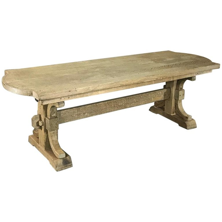 Antique Country French Provincial Stripped Oak Trestle Table Trestle Table French Provincial Oak