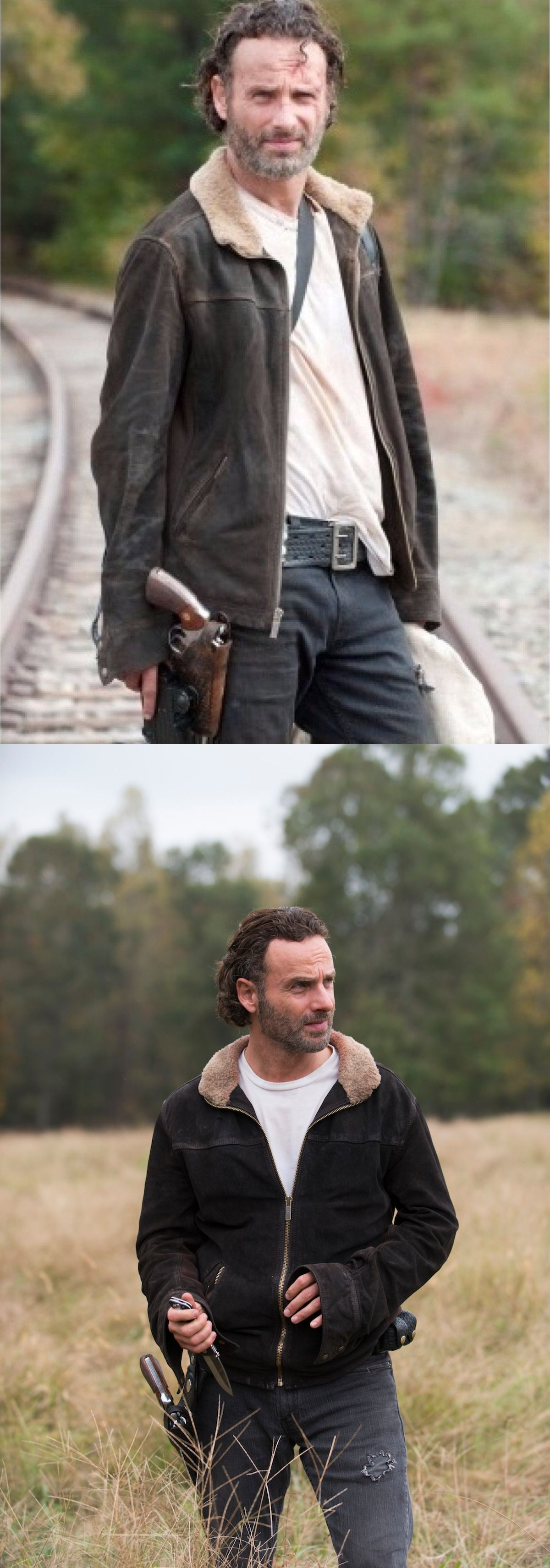The Walking Dead Season 5 Rick Grimes Suede Leather Jacket available in our store Rasouk Carry by Andrew Lincoln in famous TV series The Walking Dead. Made with Suede Leather. Collect the elegant outfit now.