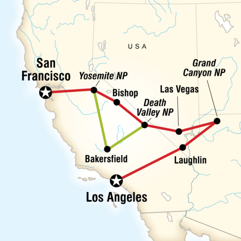 Itinerary Western Express Southbound In United States North America National Park Tours Vegas Adventures National Parks