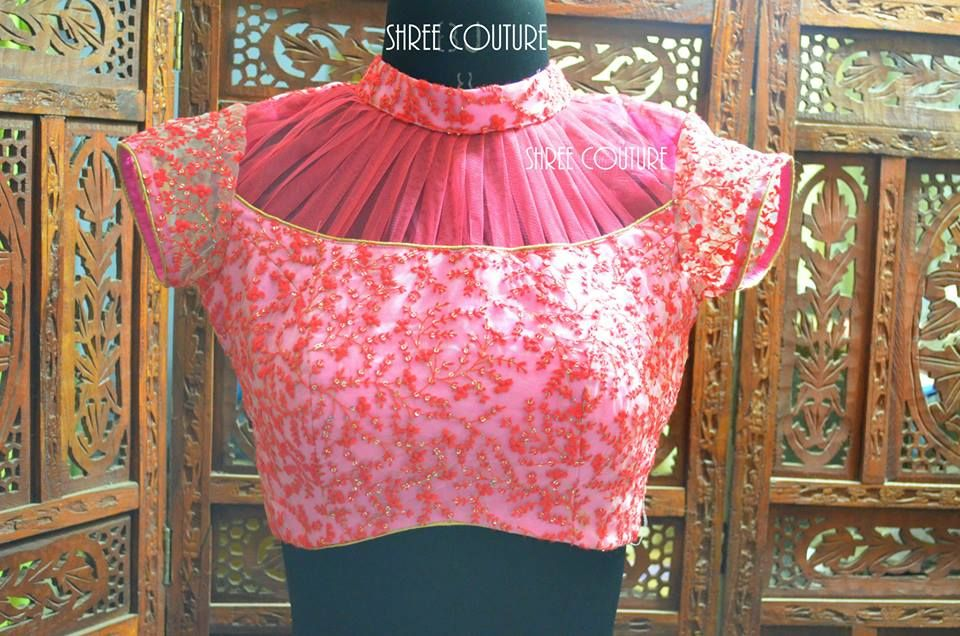 MODELS OF BLOUSE DESIGNS: PINK COLOUR NETTED ATTACHED BLOUSE