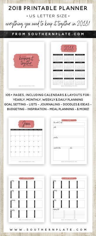 2018 Keeping It Together Planner Free Planning Pinterest