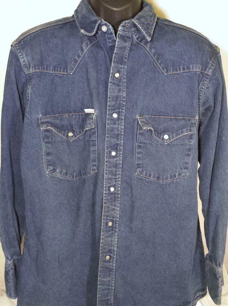 7c55e0a63ac Carhartt Mens Size XL Pearl Snap Cowboy Denim Jean Shirt  Carhartt  Western