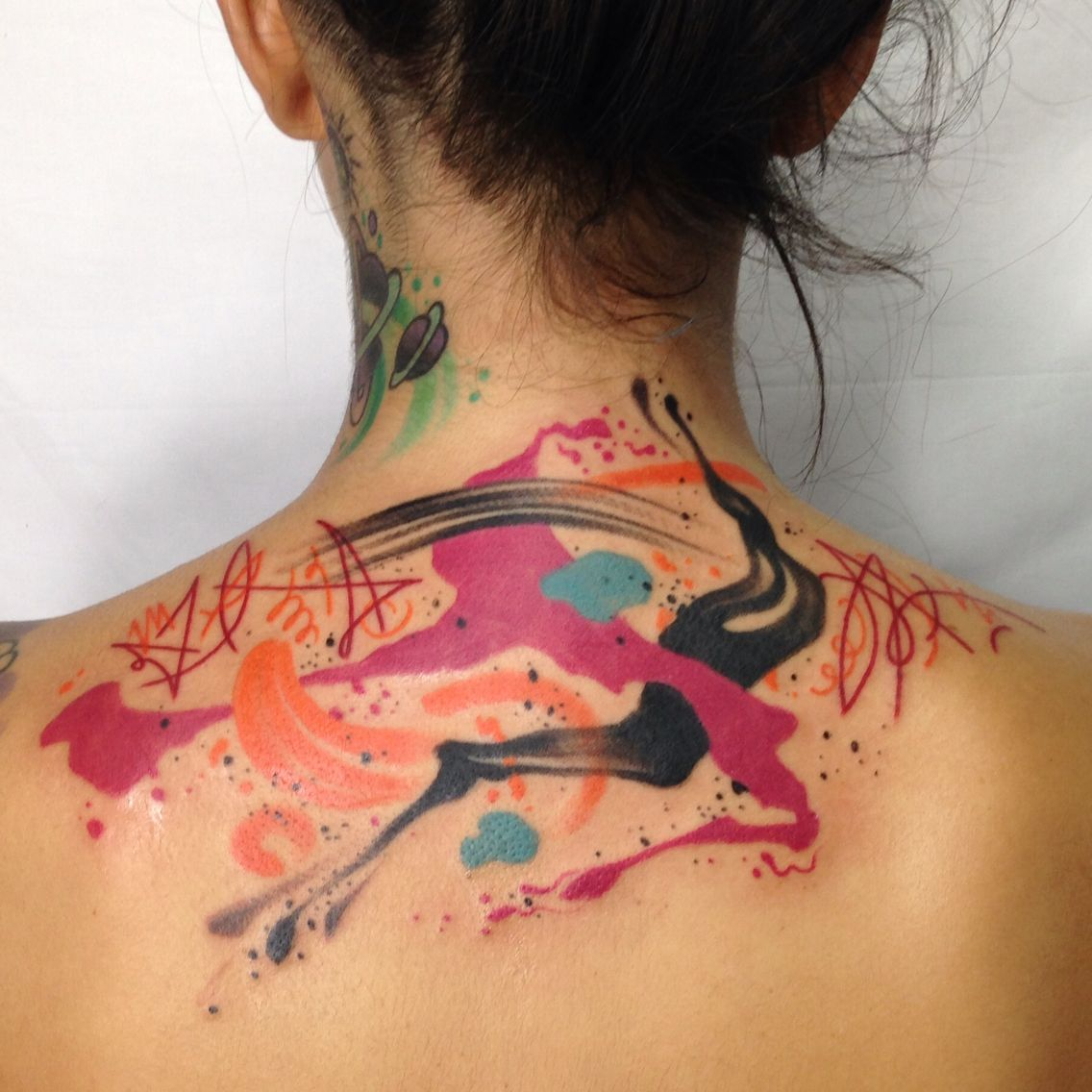 Abstract Watercolor Tattoo Art On Girl By Los Angeles Artist Tim