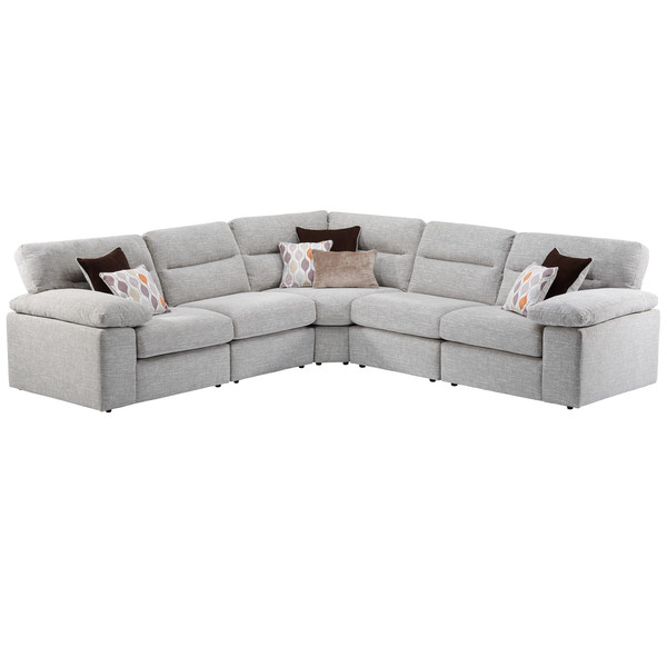 Morgan Modular Group 3 In Santos Silver With Green And Grey Scatters Corner Sofa Oak Furniture Land Modular Sofa