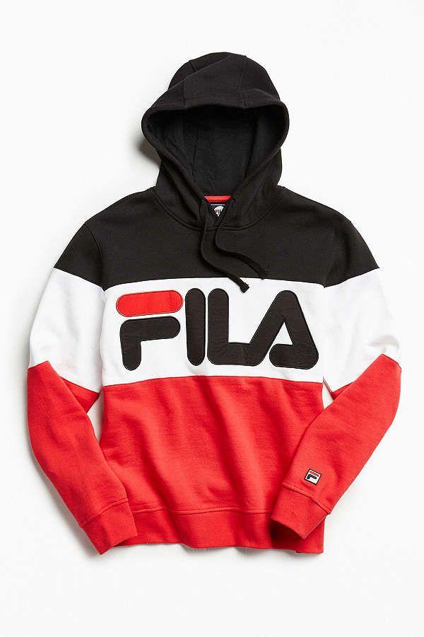 FILA Colorblocked Hoodie Sweatshirt | Pakaian pria, Model