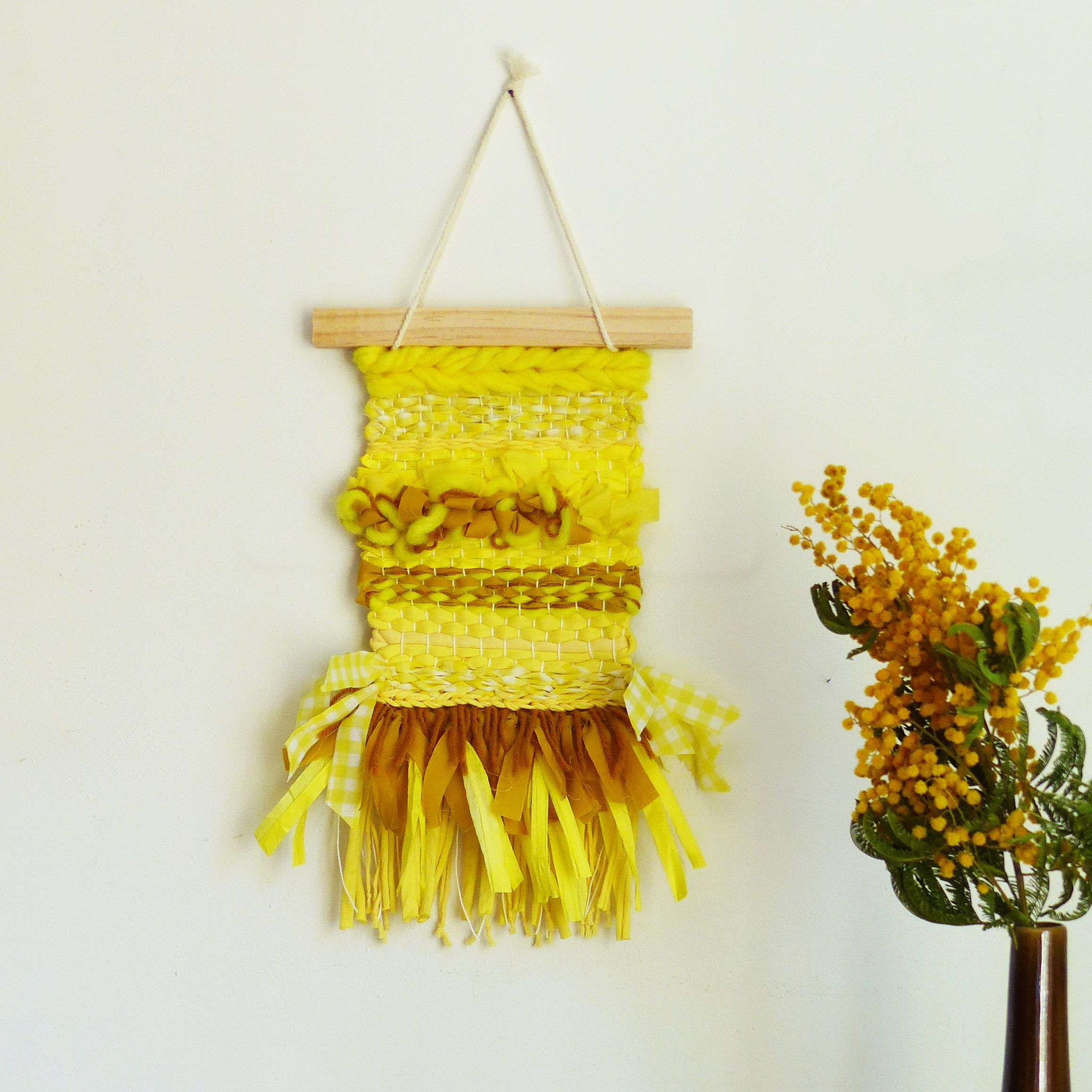 Woven wall hanging country yellow, modern tapestry, wall decorative ...