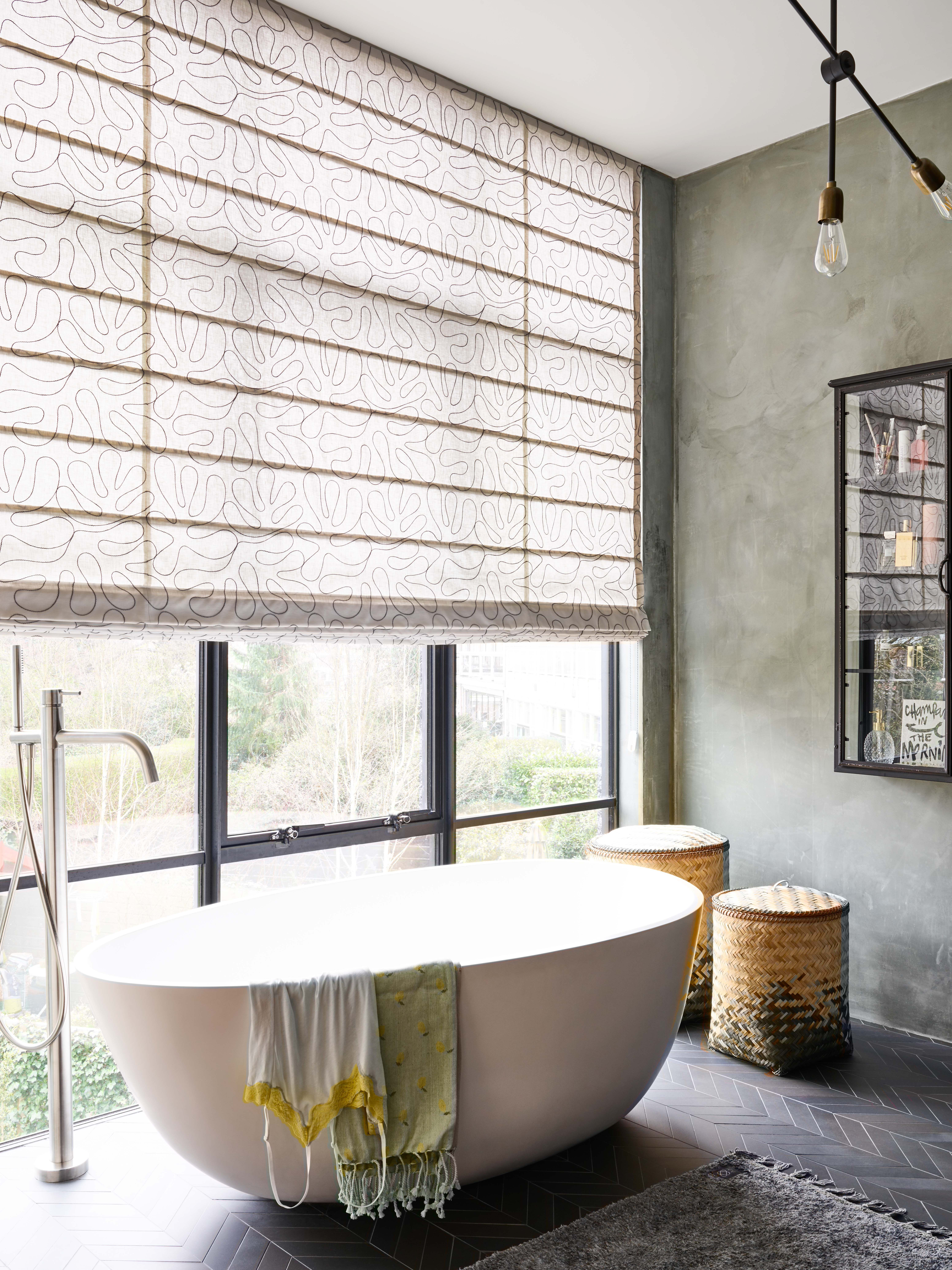 Create An Inviting Look Instantly In Your Bathroom With Beautiful Roman Shades Learn More Budget Blinds Custom Roman Shades Roman Shades [ jpg ]