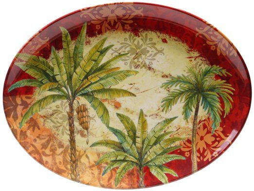 Certified international sunset palm melamine oval platter 18 by 13 5 inch dining room for Certified interior decorators international