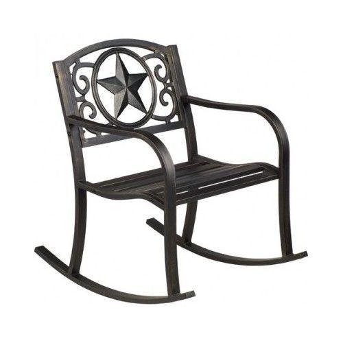 Patio Rocking Chair Rocker Texas Star Cast Iron Black Outdoor Furniture Deck New