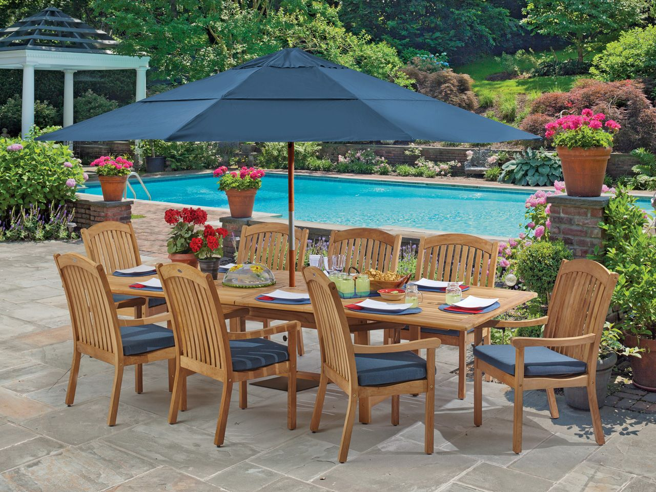 Eastchester 9 Pc Solid Teak Dining Set Fortunoff Backyard Store With Images Patio