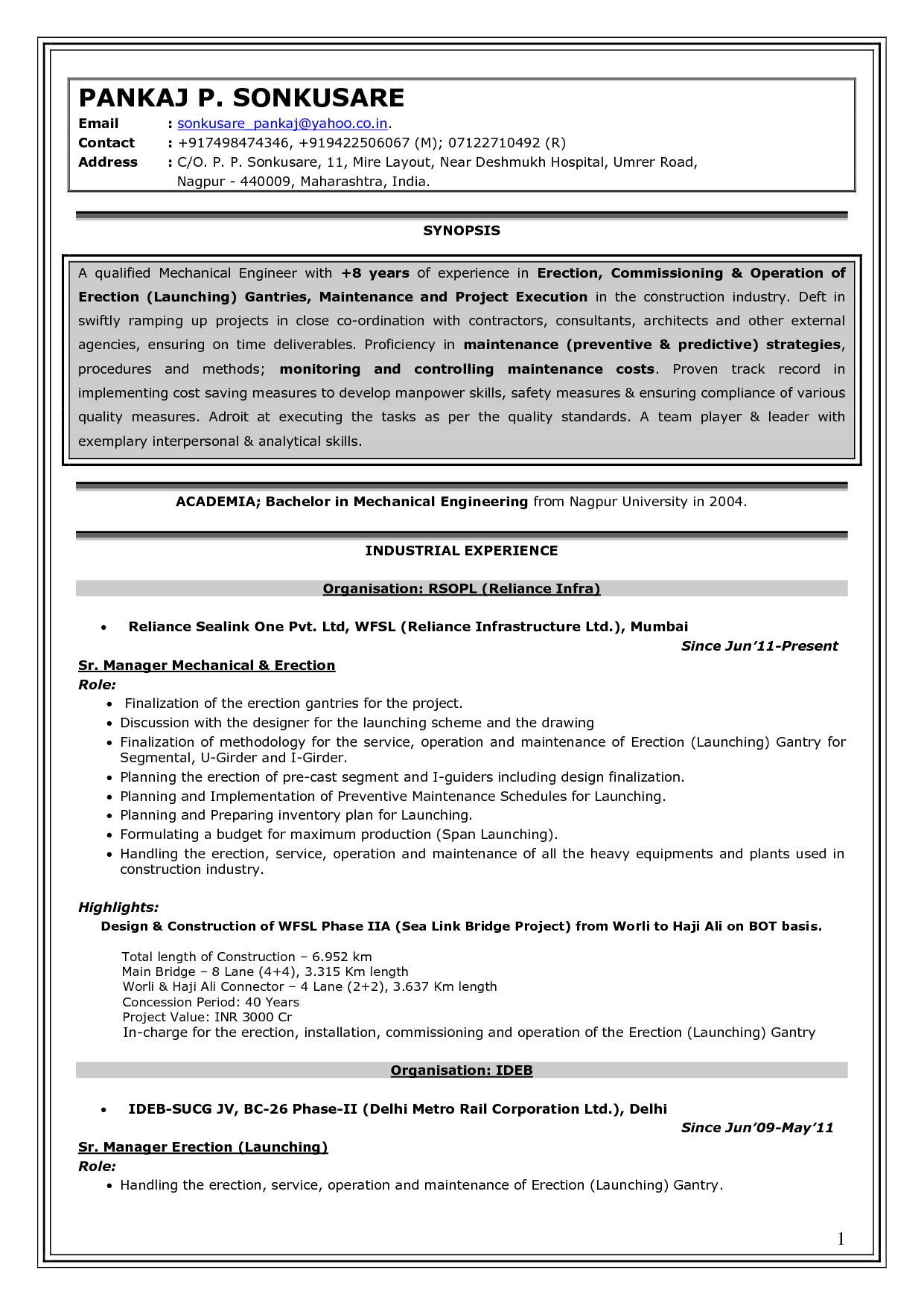 Mechanical Engineer Resume Sample Resume Experienced Mechanical Engineer Design Over And