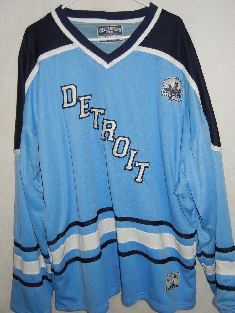 dad54872234 VTG Detroit men s 3XL XXXL hockey jersey baby blue sewn letters logos  17   SteveandBarrys  Detroit