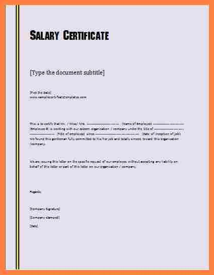 Image Result For Salary Certificate Sample Letter Pdf