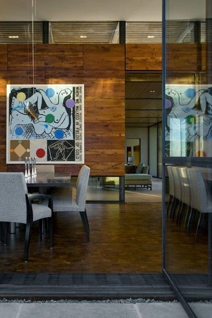 Wood Walls-interesting way to break up rooms and allow a feeling of space.