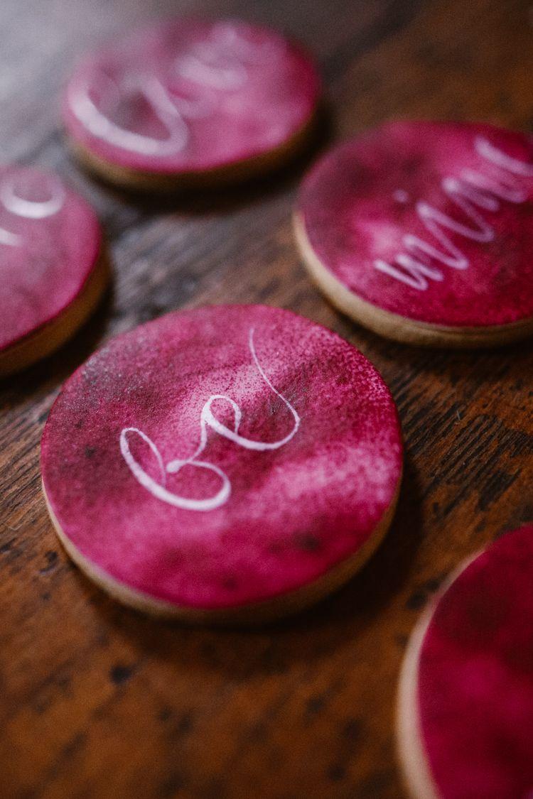 Calligraphy Cookies Dark Romantic Urban Wedding Ideas http://www ...
