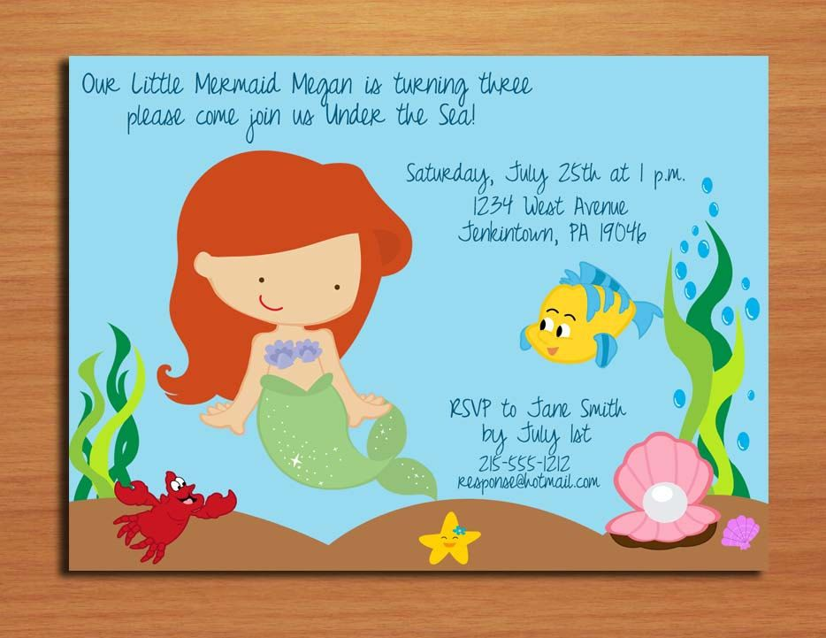 Ariel little mermaid princess birthday party invitation cards ariel little mermaid princess birthday party invitation cards printable diy 1500 via etsy filmwisefo Choice Image