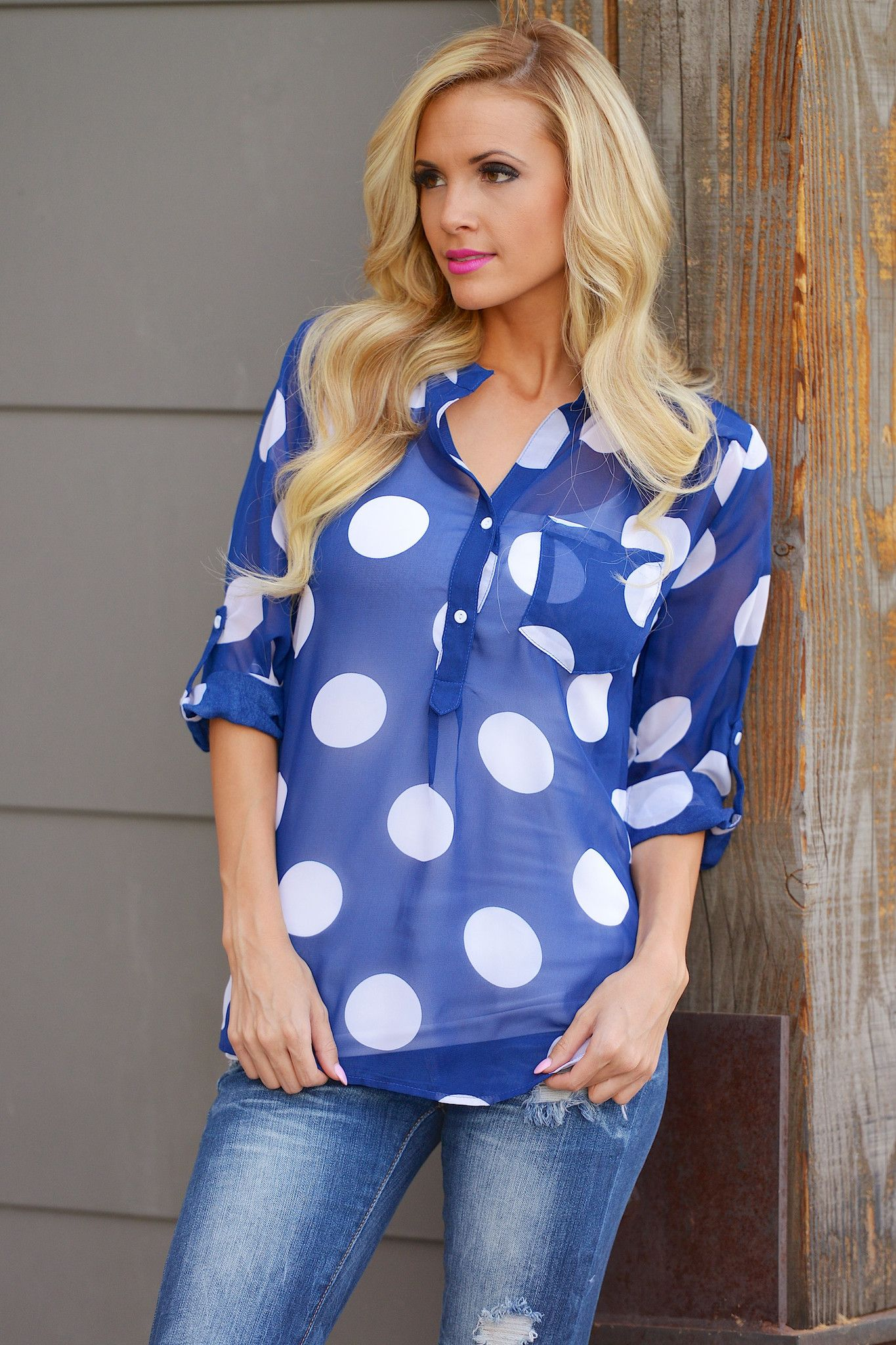 """High Expectations Top - Navy Polka Dot from Closet Candy Boutique Code """"repjennifer""""=10% off ad FREE shipping!"""