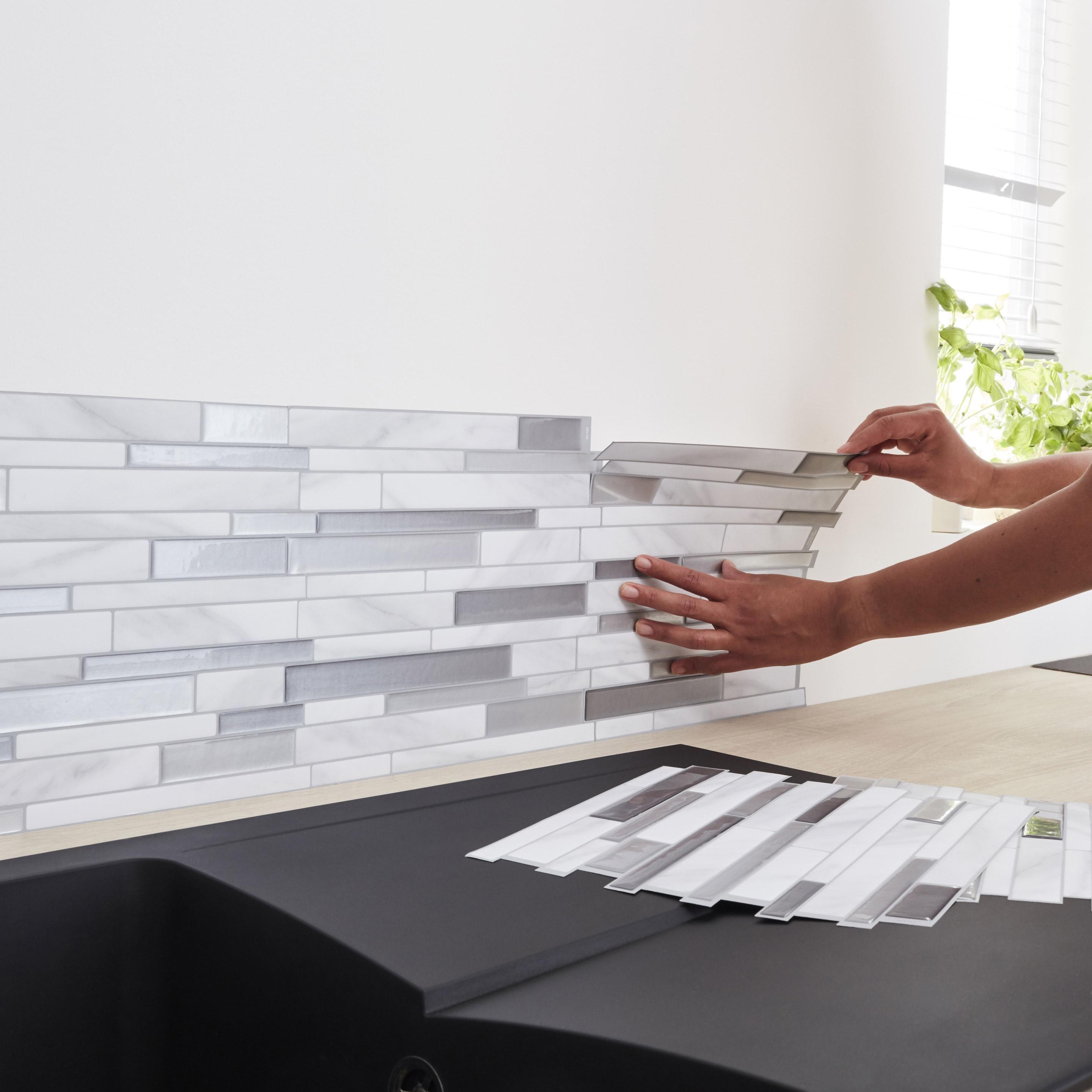 Credence Adhesive Smart Tiles Milano Gris 29 34 X 24 46 Cm Carrelage Intelligent Credence Adhesive Credence Adhesive Cuisine