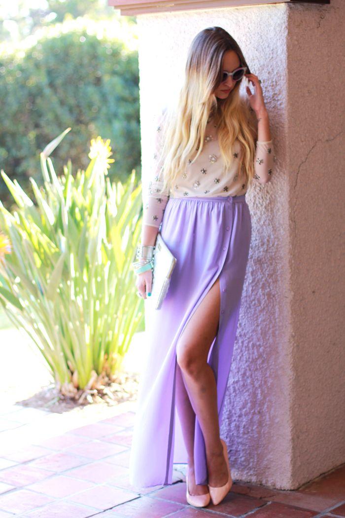 lavender high slit skirt