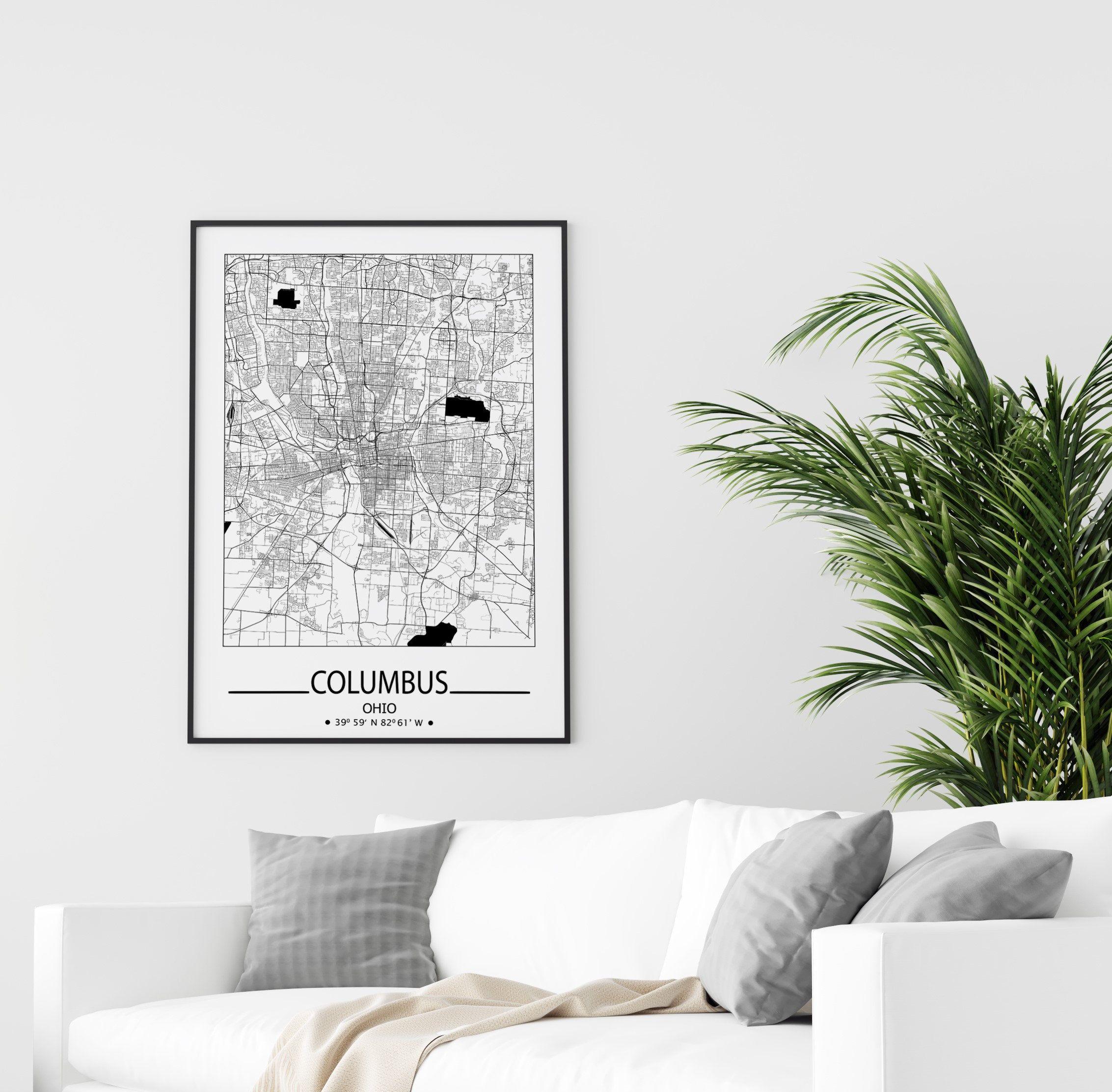 Columbus City Map Print Columbus Wall Art Prints Travel Maps Etsy In 2020 Columbus Wall Art Poster Wall Art Poster Art