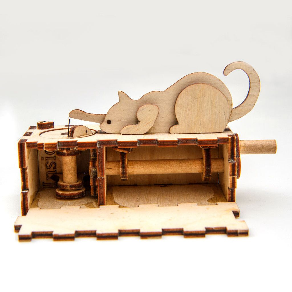 cat and mouse automata kit | wood gizmos | woodworking toys