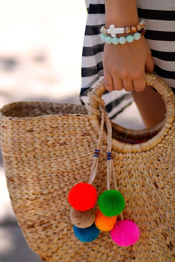 Straw Beach Bag, Market Tote, Vacation Bag, Hard Straw Tote ...