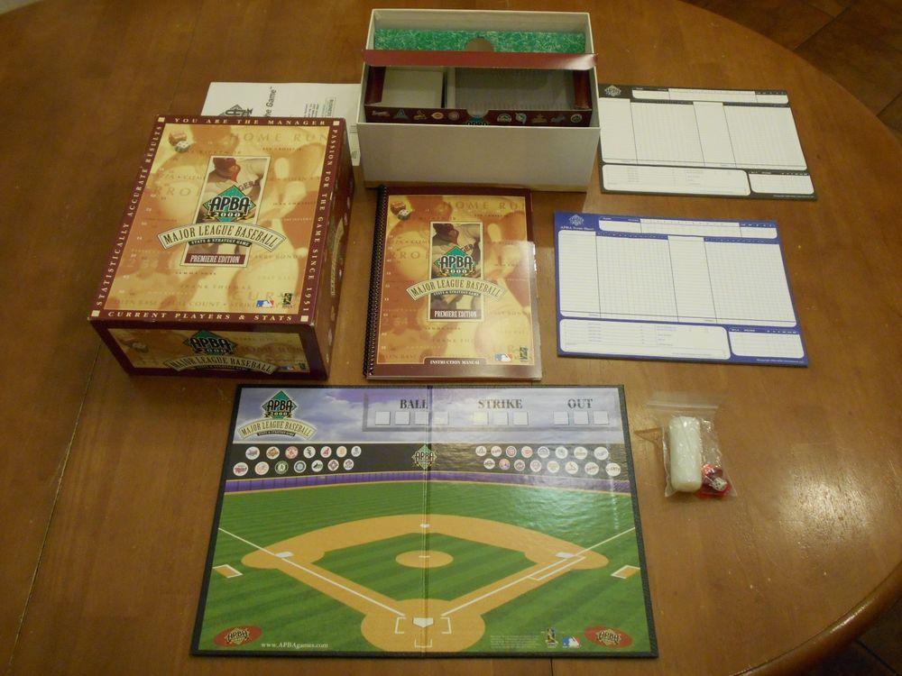 Apba 2000 Premiere Edition Mlb Baseball Stats Strategy Board Game Lot With Box Strategy Board Games Games Baseball Stadium