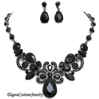 Black Crystal Necklace Set Elegant Wedding Bridesmaid Jewelry also