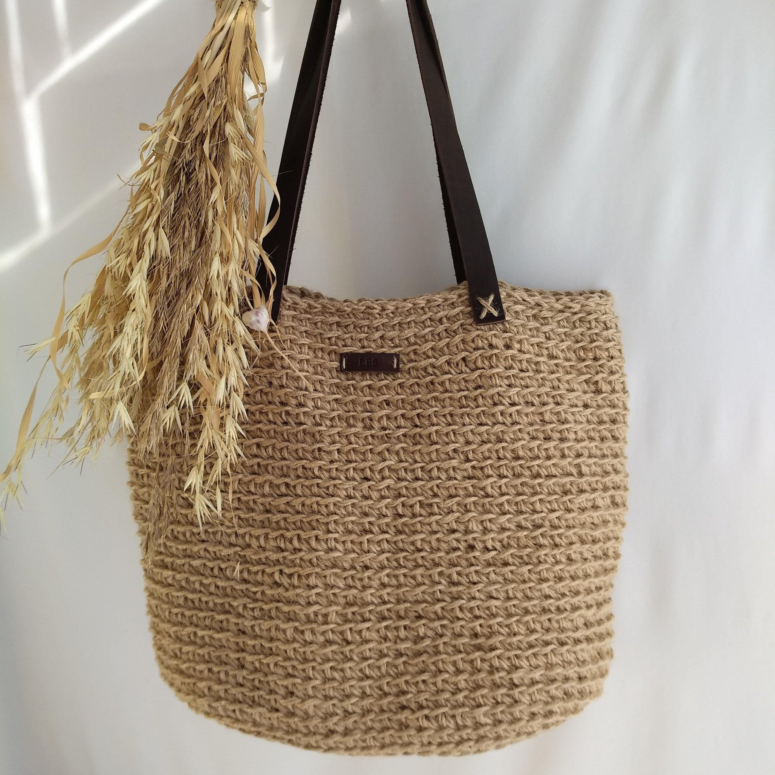 Jute bag with leather handle Market Crochet Jute Bag Jute shopping bag Jute tote bag Casual bag natural color Casual bag Gift for her