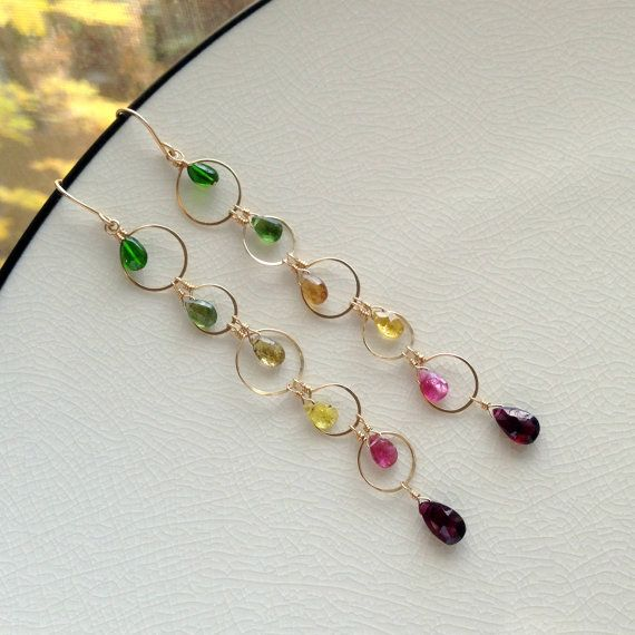 WILDFLOWER tourmaline gold earrings by whyzee on Etsy | Unique ...