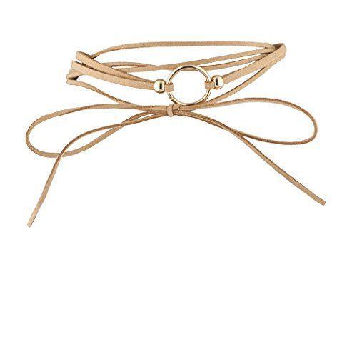 f94f7bb2bac94 Lux Accessories Trendy Tan and Goldtone Geo Circle Suede Wrap Choker ...