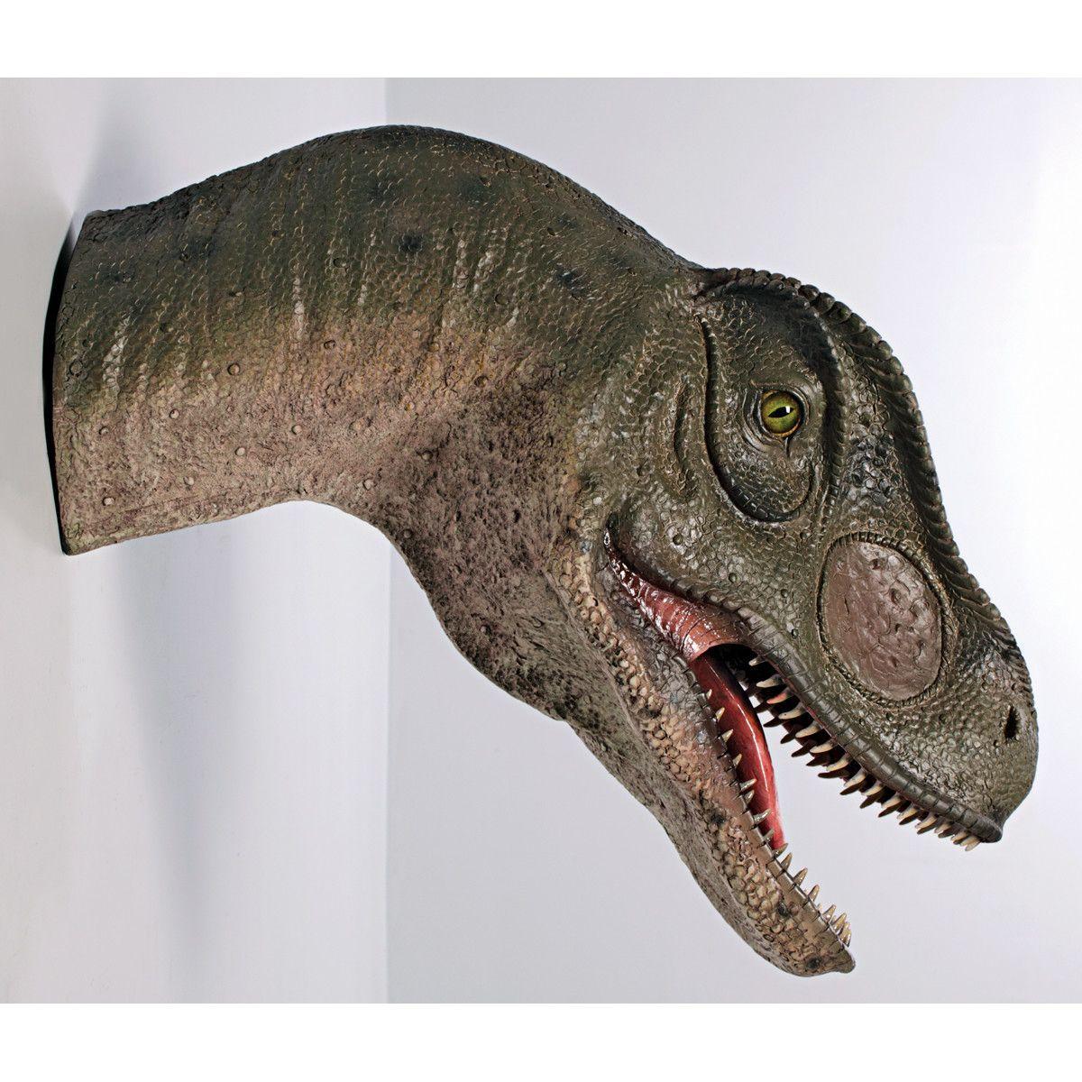 mouth open giant allosaurus dinosaur wall trophy garden statues mouthsdinosaurswallbenchesirondecor - Open Garden Decor