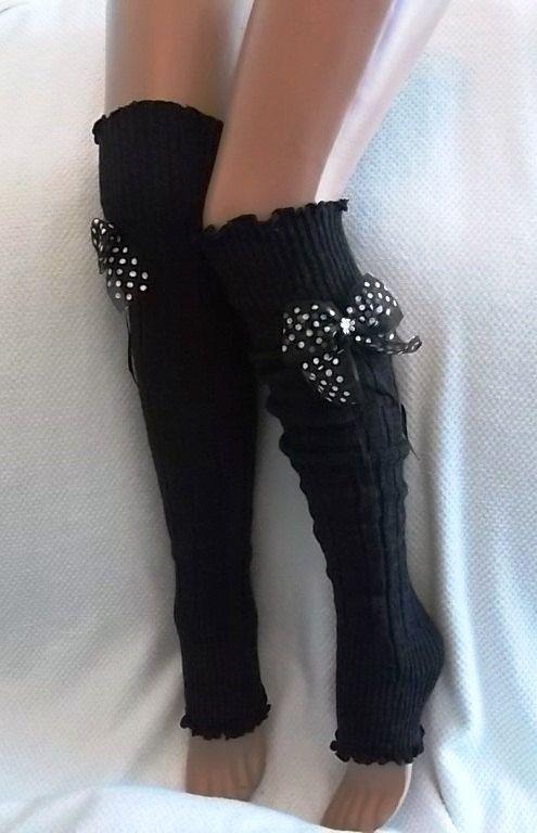 7b3d2e2b9b602 Dark Grey and Polka dot Ribbon Bow Leg Warmers Boot Socks Machine Knit  Women's Socks Winter Socks Christmas Gift