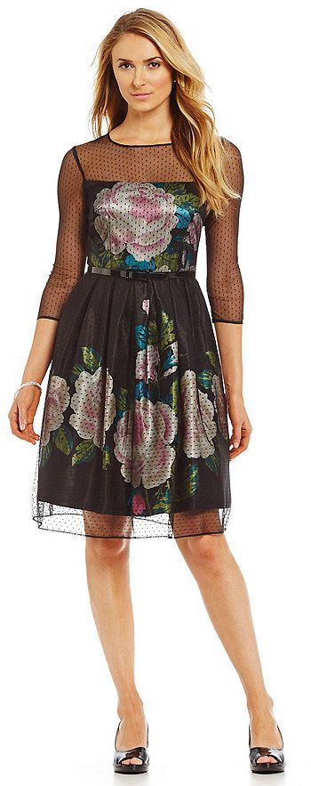 S.L. Fashions Floral-Print Fit-and-Flare Party Dress