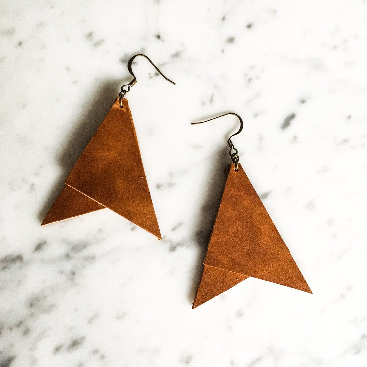 Photo of Oversized Geometric Leather Earring