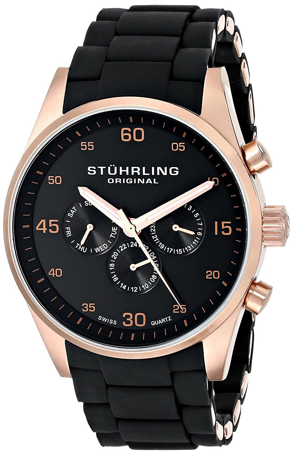 Stuhrling Original Unisex 352.04 Special Reserve Quest Rose Gold Watch with Silicone Covered Bracelet -- Read more at the image link.