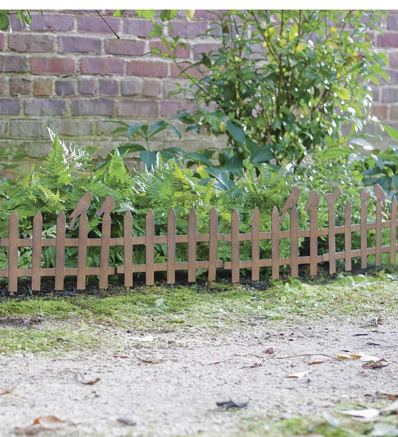 Set Of 6 Rustic Metal Picket Fence Garden Edging With Birds With