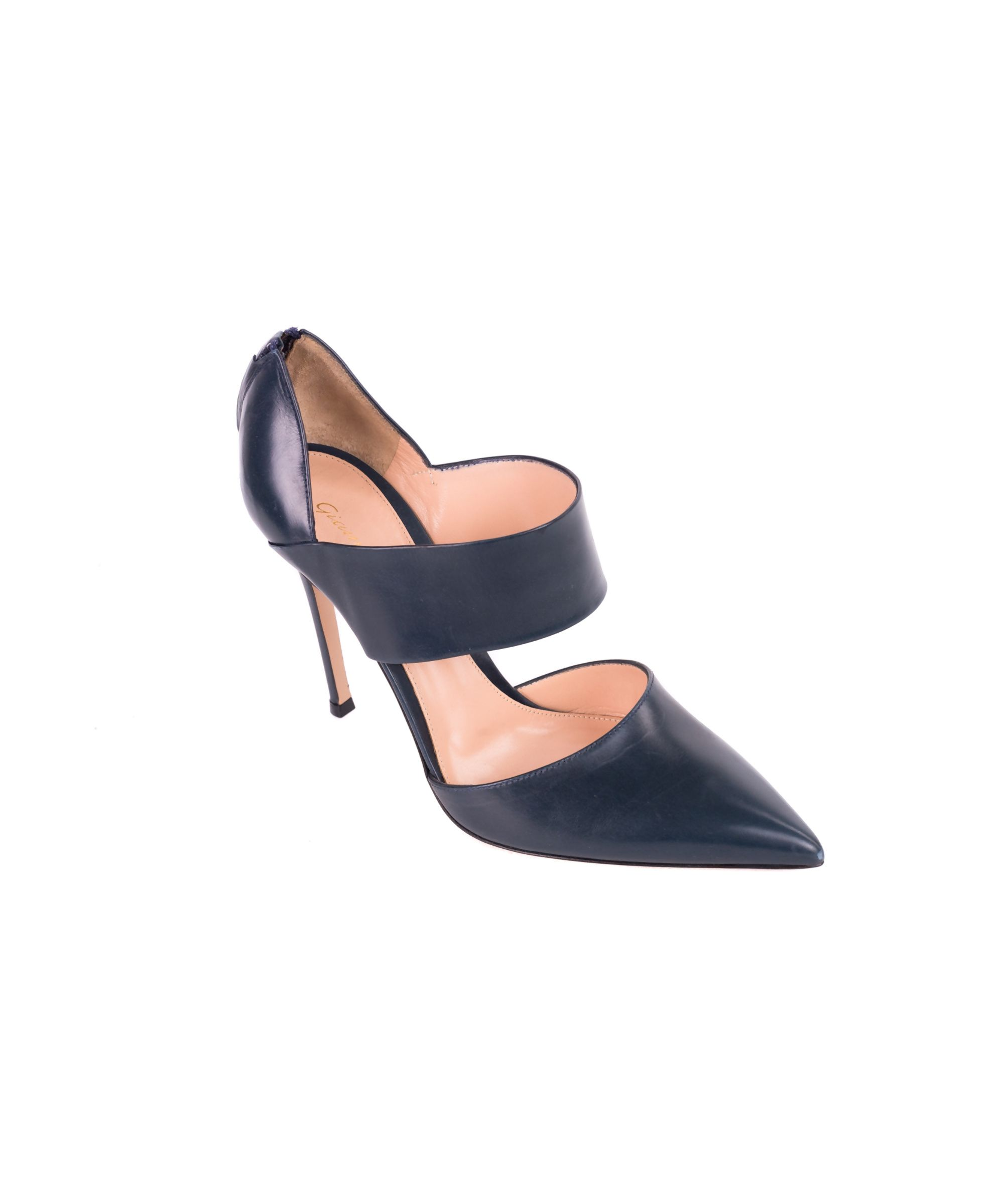 Gianvito Rossi Gianvito Rossi Deep Teal Leather Pointed Toe Vamp Strap Pumps Shoes Pumps High Heels Gianvito Rossi Strap Pumps Teal Leather Deep Teal