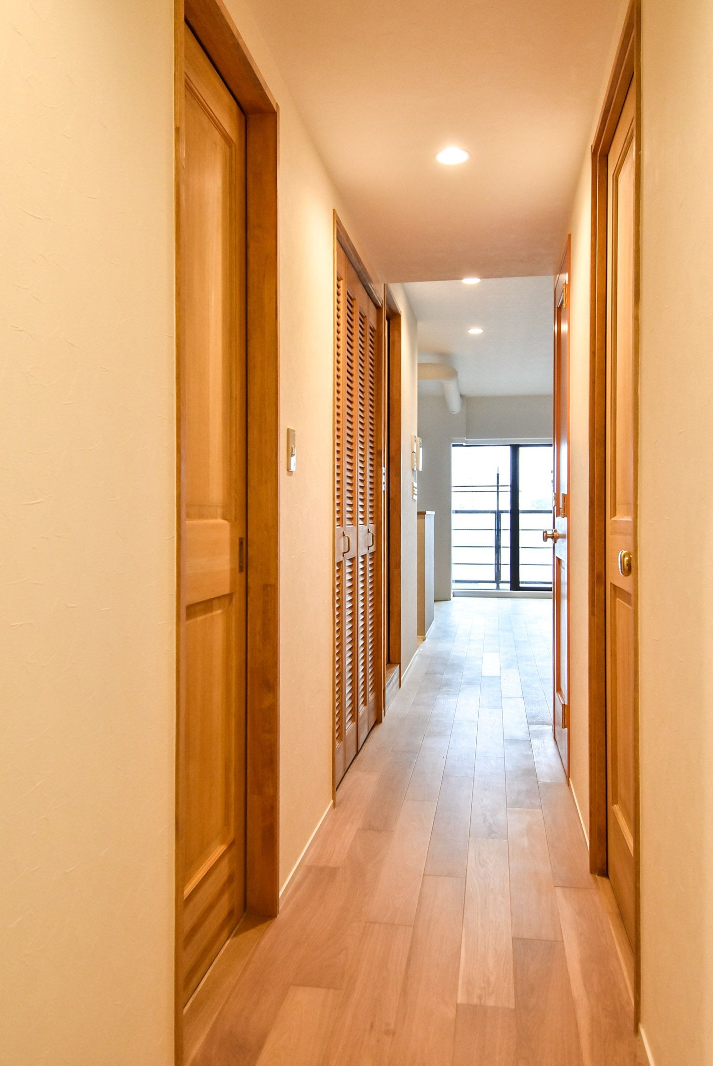 Wooden doors and corridors